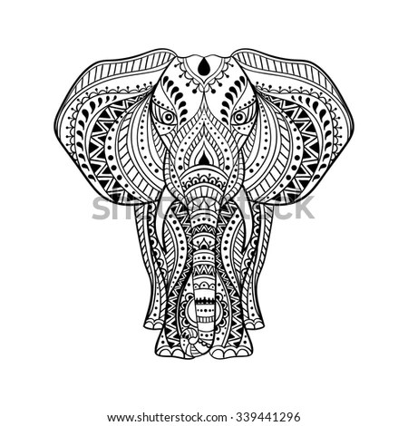 Vector Ethnic Indian Elephant Illustration Stock Vector