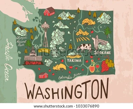Cartoon Map Washington State Travel Attractions Stock Vector     Cartoon map of Washington state  Travel and attractions