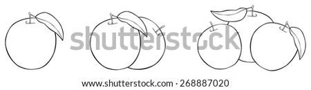 Black White Cartoon Illustration Cherry Fruits Stock