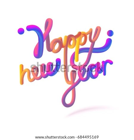 Stock Vector Illustration Happy New Year Stock Vector 684495169     Stock vector illustration Happy New Year font with letters  Glossy orange  paint letters  3D