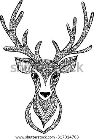 Hand Drawn Outline Doodle Deer Head Stock Vector 317014703