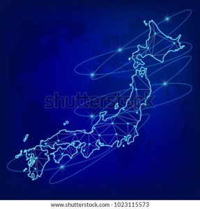 Global Logistics Network Concept Communications Network Stock Vector     Global logistics network concept  Communications network map of the Japan  on the world background