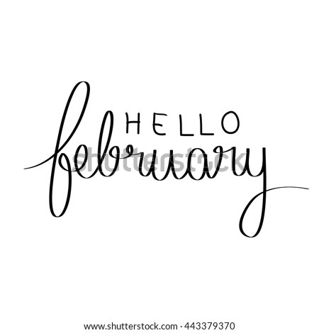 Hello February Hand Lettering Greeting Card Modern - Modern