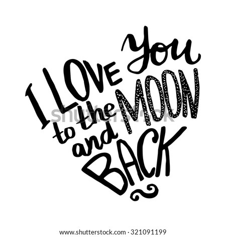 Love You Moon Back Hand Drawn Stock Vector 321091199
