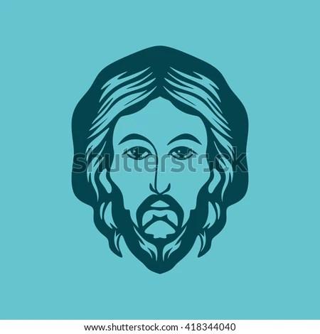 Bearded Man Silhouette Illustration Long Hair Stock Vector