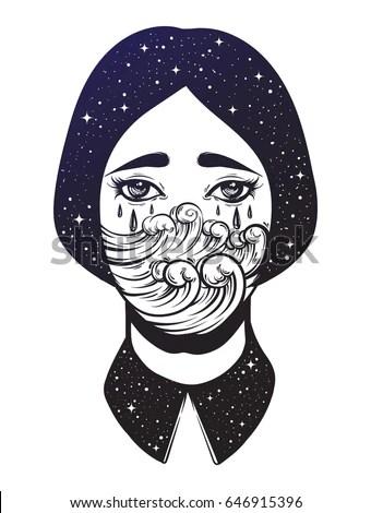 Vector Illustration Weird Young Girl Sad Stock Vector