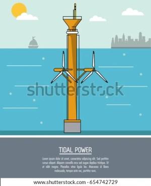 Color Sea Landscape Background Tidal Power Stock Vector