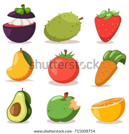 Cute Apple Strawberry Cartoon Character Playing Stock