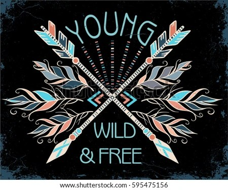 Poster Hand Drawn Tribal Arrows Feathers Stock Vector 595475156 Shutterstock