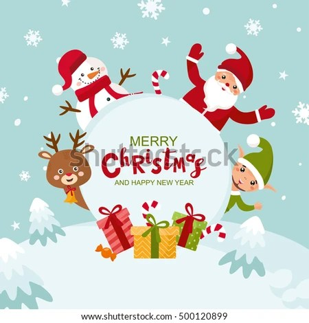 Merry Christmas Greeting Card Happy New Stock Vector