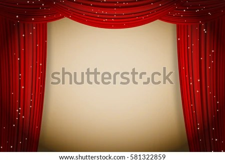 Open Red Curtains Theater Background Glittering Stock Vector 581322859 Shutterstock