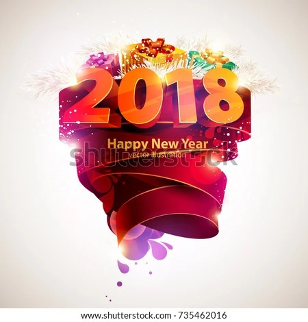 Happy New Year 2018 Poster Template Stock Vector  Royalty Free     Happy new year 2018  Poster template