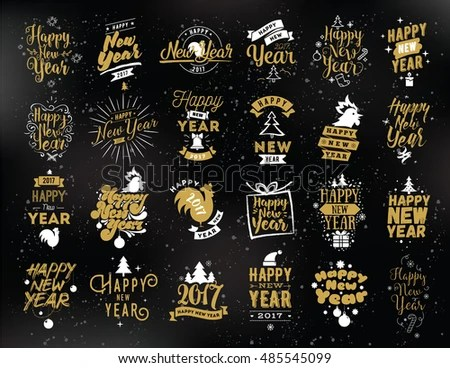 black and white new year label