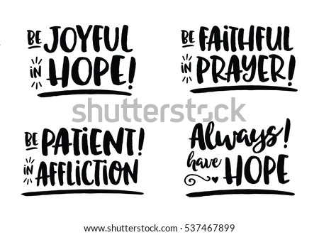 Hope Bible Scripture Phrases Collection Romans Stock
