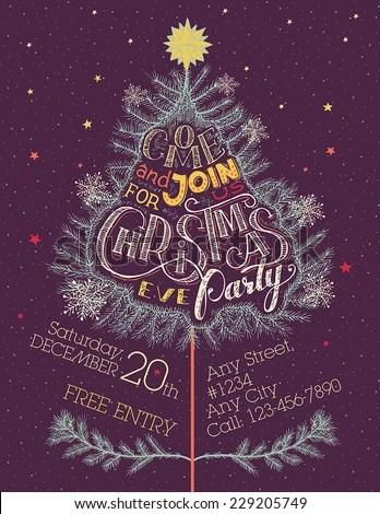 Vintage Christmas Holiday Invitation Poster Come Stock ...