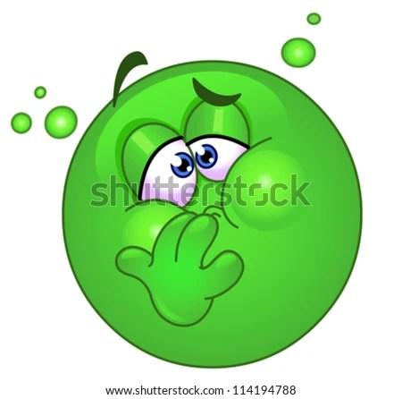 Emoticon with nausea - stock vector