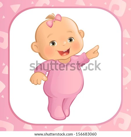 Pointing Baby Girl (Vector) - stock vector