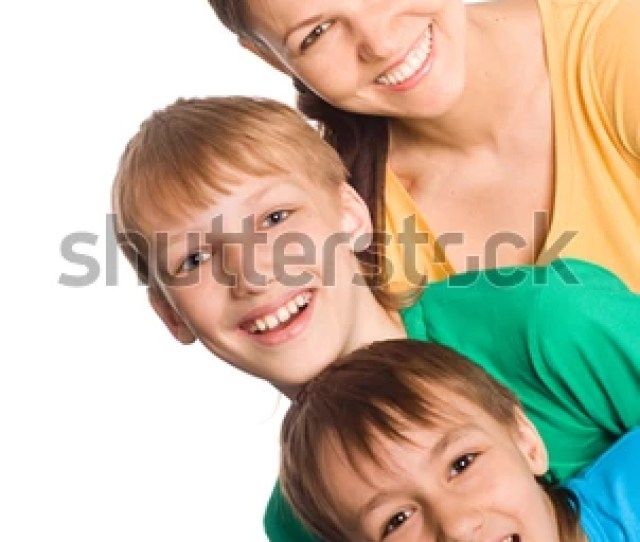 Portrait Of A Cute Mom With Sons