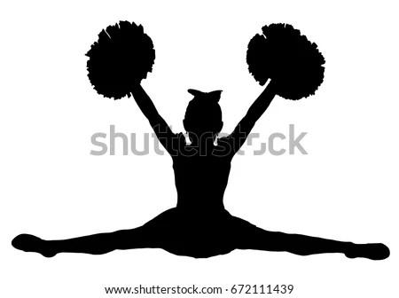 Black Silhouette Girl Cheerleaders Sports Cheerleading