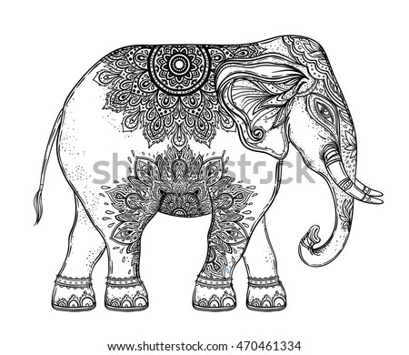 Drawing Zentangle Pig Coloring Book Adult Stock Vector