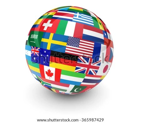 Flags World On Globe International Business Stock ...