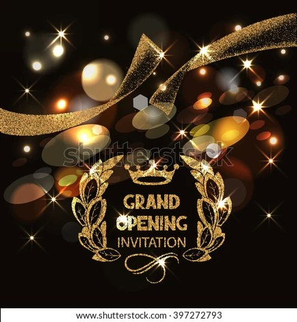 Grand Opening Invitation Card Gold Abstract Stock Vector