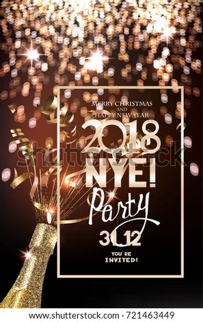 New year 2018 party invitation merry christmas and happy new year 2018 new year 2018 party invitation stopboris Choice Image