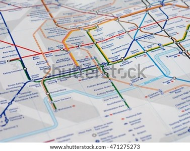 LONDON UK CIRCA APRIL 2016 Detail Stock Photo  100  Legal Protection     LONDON  UK   CIRCA APRIL 2016  Detail of the tube map with selective focus