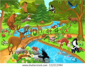 Vector Images, Illustrations and Cliparts: forest animals ing to drink water   Hqvectors