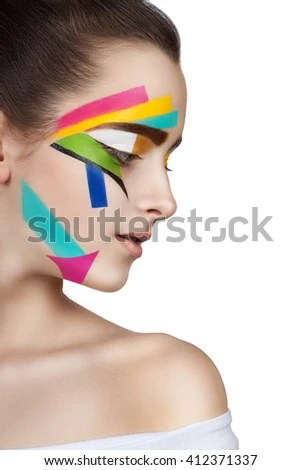 Teen Girl Colored Stripes On Face Stock Photo 412371355 ...