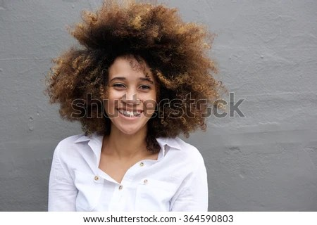 close portrait young woman smiling afro stock photo shutterstock