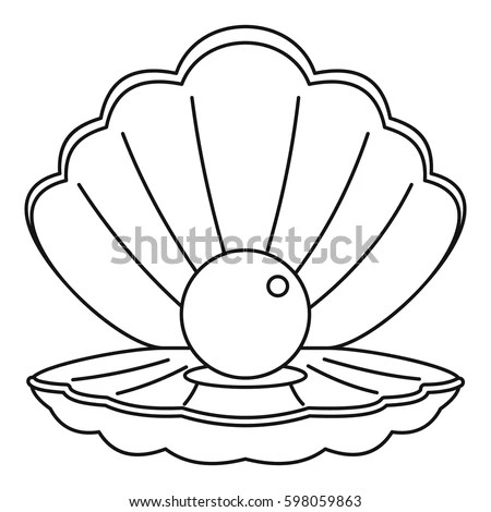 Sea Shell Pearl Icon Outline Illustration Stock Vector