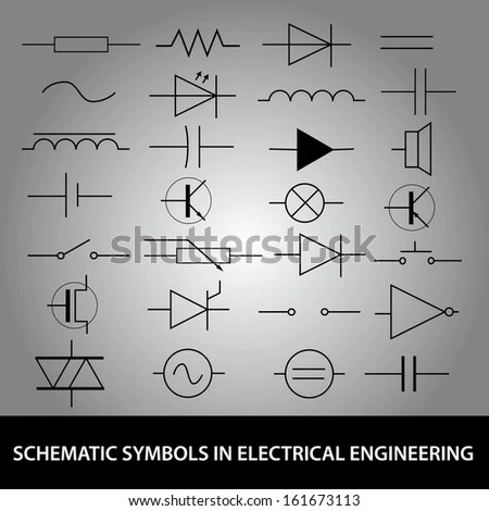 Electronic Electric Symbols Black Isolated On Stock Vector