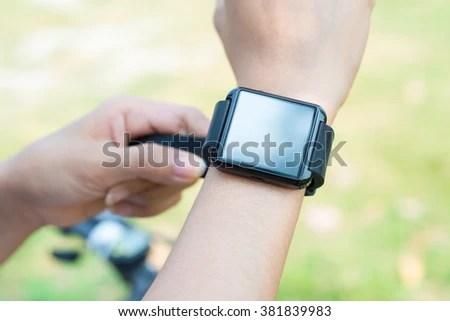 Closeup Smart Watch On Arm Women Stock Photo 381839989 ...