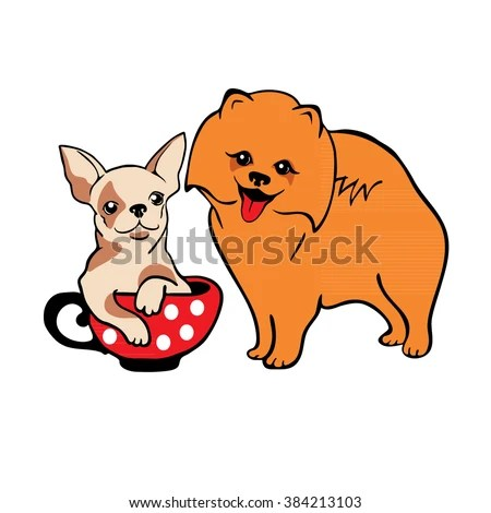 Valentines Day Card Cartoon Dogs Hand Stock Vector