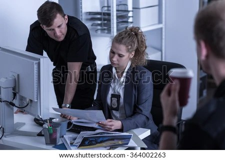 Image Female Police Officer During Work Stock Photo ...