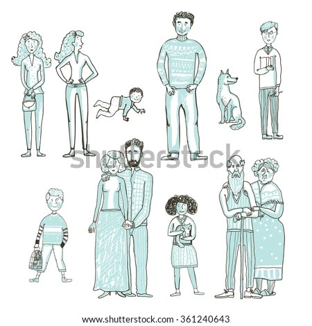 Vector Set People Father Pregnant Mother Stock Vector ...