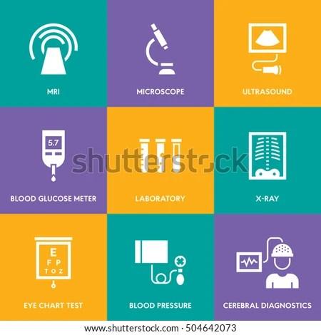Medical Diagnostic Vector Icon Set Medicine Stock Vector ...
