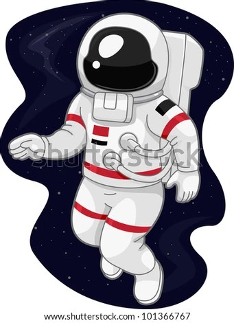 Illustration of an Austronaut Drifting in Space stock vector