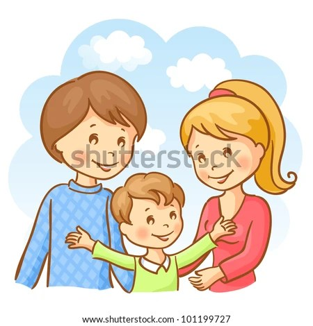 Happy family on the sky background. Mother, father and son ...