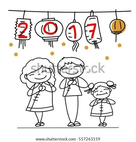 cartoon new year drawings