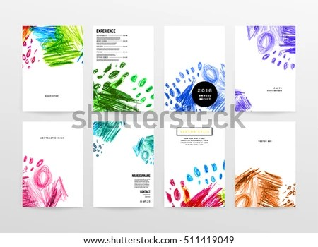 Set Artistic Creative Universal Cards Hand Stock Vector