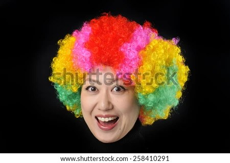 on head cheerful girl multicolored wig stock photo shutterstock