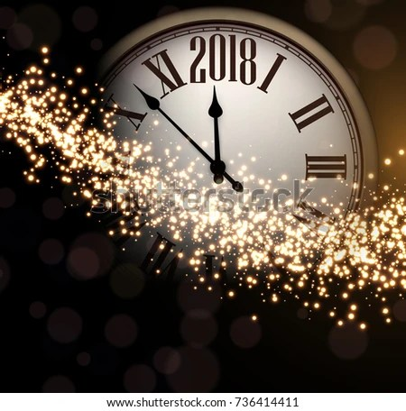 Shining 2018 New Year Background Clock Stock Vector  Royalty Free     Shining 2018 New Year background with clock  Vector illustration