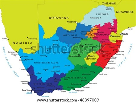 South Africa Political Map Provincial Boundaries Stock Illustration     South Africa political map with provincial boundaries