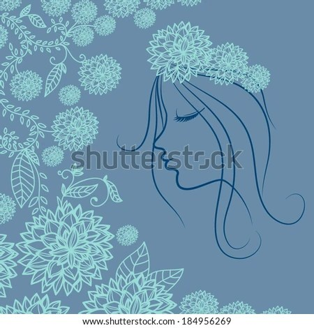Beautiful Woman Silhouette Flowers Stock Vector 55558555