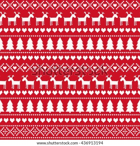 Christmas Seamless Pattern Card Scandinavian Sweater Stock