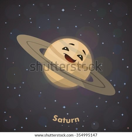 Cute Planet Saturn Stock Vector 354995147 Shutterstock