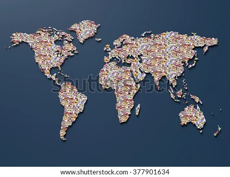Symbol Geopolitics World Map Made Out Stock Illustration 377901634     symbol of geopolitics  the world map made out of country flags