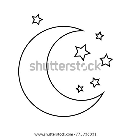 Moon Stars Drawing Coloring Pages Kids Stock Vector